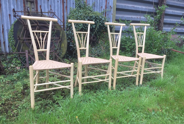 Rustic Ash Chairs Chairmaking Dining Chairs, Shave Horse, Danish Cord Seat, Commission, Green Woodworking