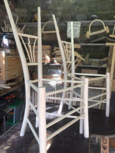 Two Rustic Ash Chairs Green Wood Gentleman's Chairs On The Chairmaking Workbench