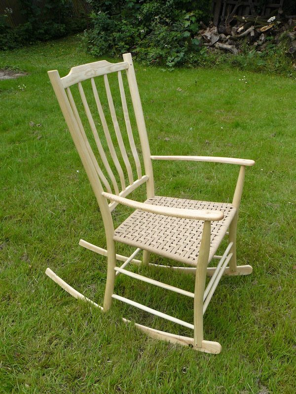 lath-back, rocking chair, ash wood, rustic ash chairs, danish cord, handmade