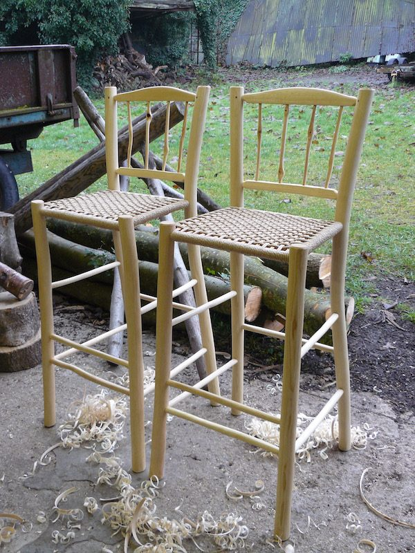 barstools, green woodworking, rustic ash chairs