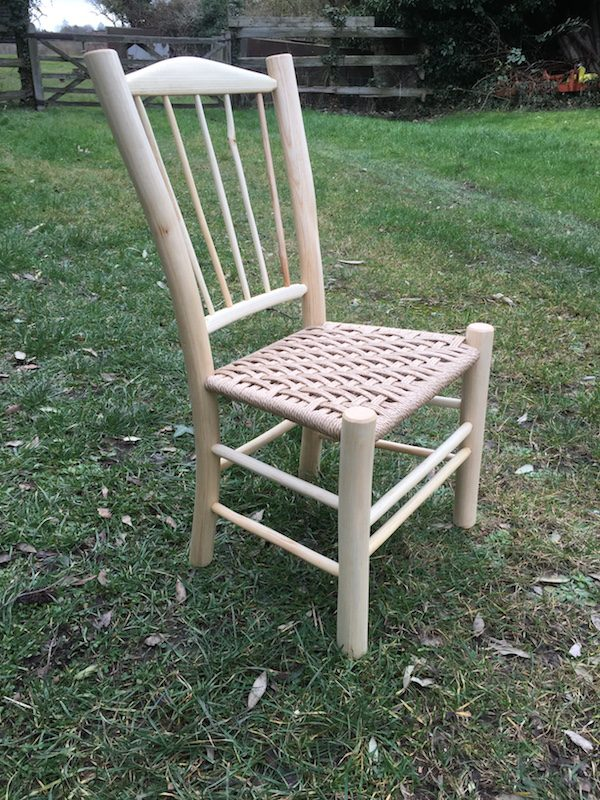 spindle back, side chair, children, green woodworking, rustic ash chairs