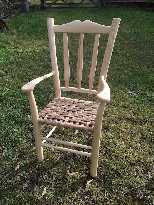 child, lath back, armchair, paper rush, green woodworking