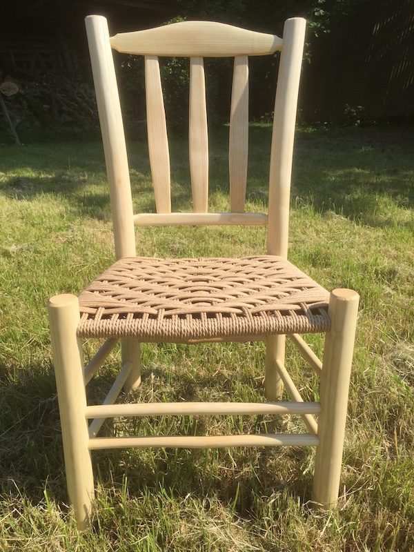 child, lath back, side chair, danish cord, green woodworking