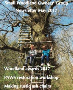 Small Woodland Owners Group magazine cover, may 2017 featuring Rustic Ash Chairs