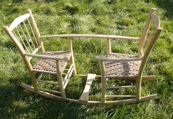 rustic ash chairs, double-rocking seesaw, child toy