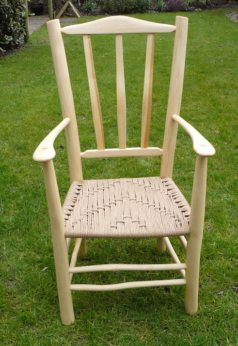 child's lath back armchair with Danish cord seat