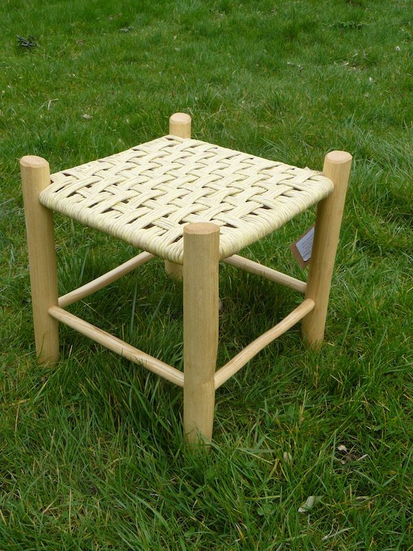 footstool, paper rush, handcrafted, rustic, ash chairs