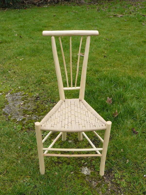 long tri-spindle gentleman's chair, rustic ash chairs hand-crafted green woodworking