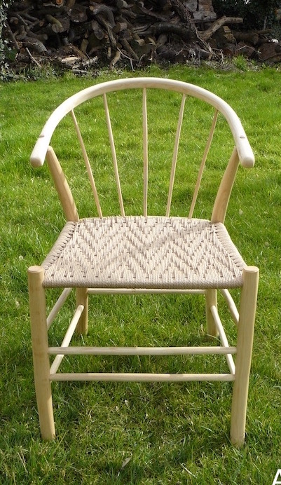 rustic ash chairs, swoop chair, spindle back, hoop, green woodworking, danish cord
