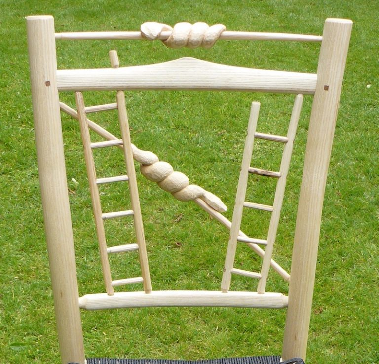 bodgers ball 2017, snakes and ladders, award winning, chair, green woodworking, rustic ash chairs