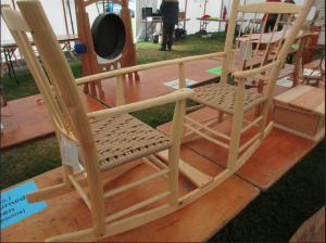 bodgers ball 2016, competition, winner, double rocking seesaw, rustic ash chairs, danish cord, green woodworking