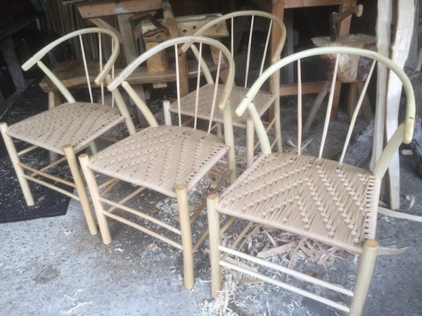 swoop, steambent, side chairs, dining set, green woodworking, handmade, danish cord, rustic ash chairs, spindle back, spindles, ash, workshop