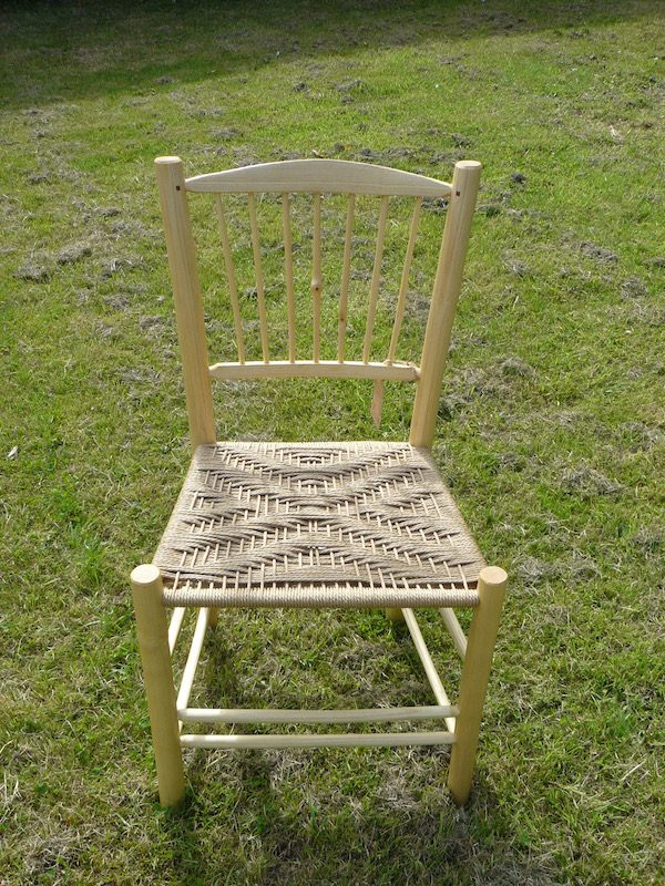knotty, spindle-back, side chair, dining chair, green woodworking, rustic ash chairs, weaving, diamond pattern, chairmaking