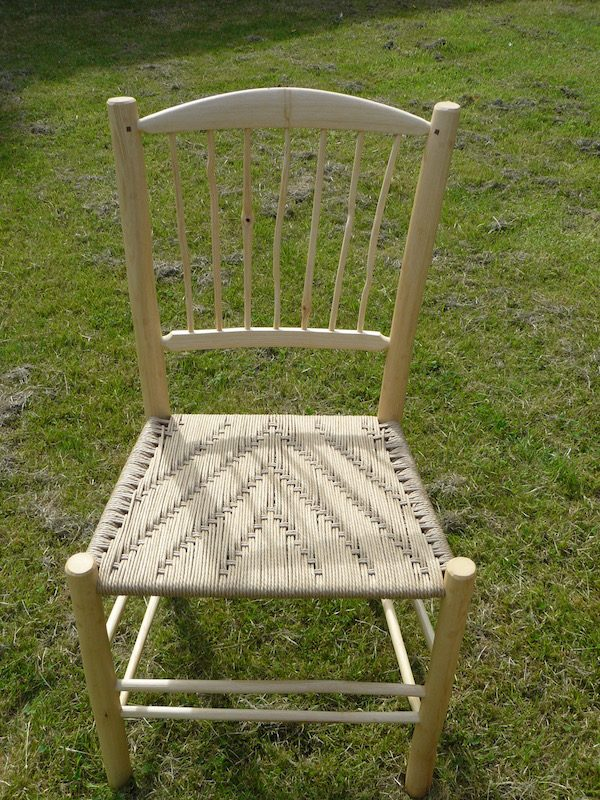 knotty, spindle-back, side chair, dining chair, green woodworking, rustic ash chairs, weaving, irish pattern, chairmaking