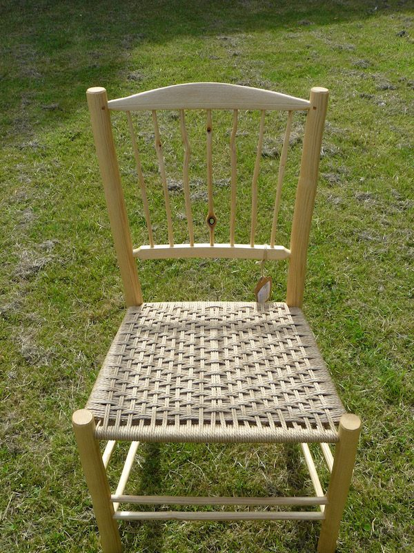 knotty, spindle-back, side chair, dining chair, green woodworking, rustic ash chairs, weaving, twill, chairmaking