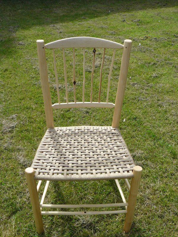 knotty, spindle-back, side chair, dining chair, green woodworking, rustic ash chairs, weaving, twill pattern, chairmaking