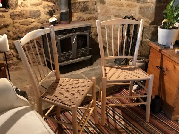 spindle-back, side chairs, dining set, green woodworking, ash, hand-crafted, danish cord, rustic ash chairs