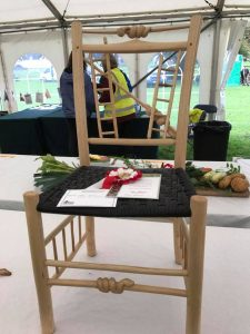 snakes and ladders chair for a child made by Rustic Ash Chairs, hand carved, green woodworking, 1st place, prize winner, Weald and Downland Museum 2017