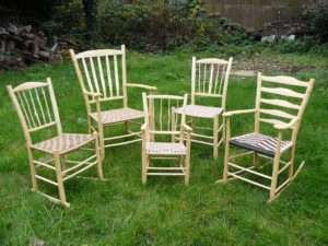 Selection Of Five Chairs Made By Rustic Ash Chairs By Green Woodworking