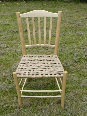 Lath Back Ash Dining Chair With 5 Laths, Green And Russet Paper Rush Woven Seat