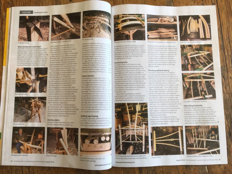 Rustic Ash Chairs, Woodworker, August 2018, Gentleman's Chairs, Chairmaking, Magazine Article Page4