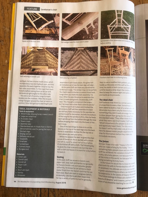 Rustic Ash Chairs, The Woodworker, August 2018, Gentleman's Chairs, Chairmaking, Magazine Article Page5