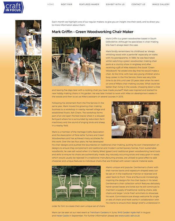 Screenshot of full Featured Maker article with Mark Griffin in the workshop with his dog