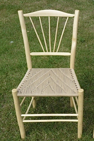 ash dining chair with 5 fanned spindle back and danish cord seat