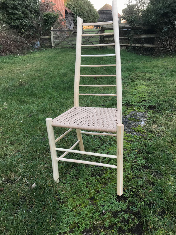 asymmetrical ladder back side chair made by rustic ash chairs
