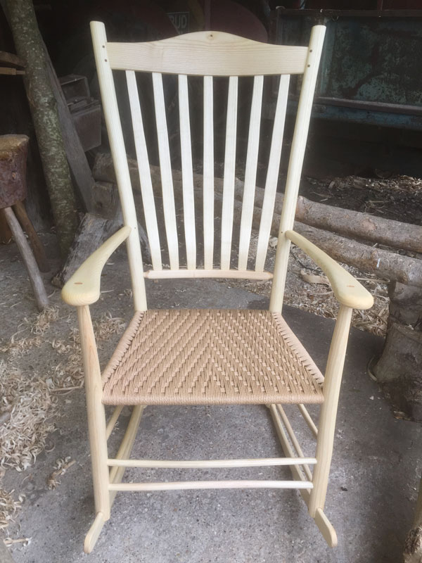A 7 lath back rocking chair with danish cord seats, by Rustic Ash Chairs