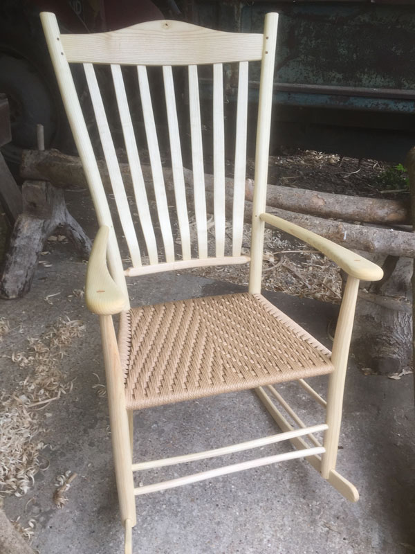 7 lath back rocking chair with danish cord seat by Rustic Ash Chairs