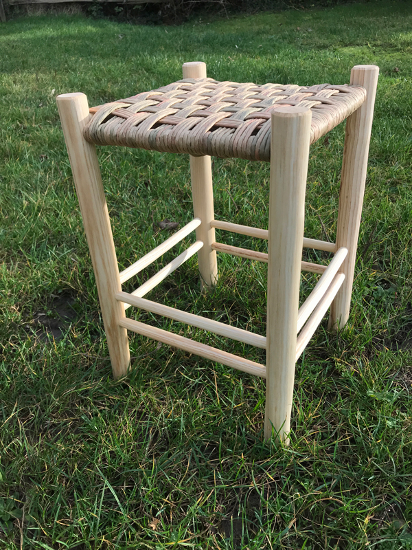 tall footstool with paper rush twill weave pattern from rustic ash chairs