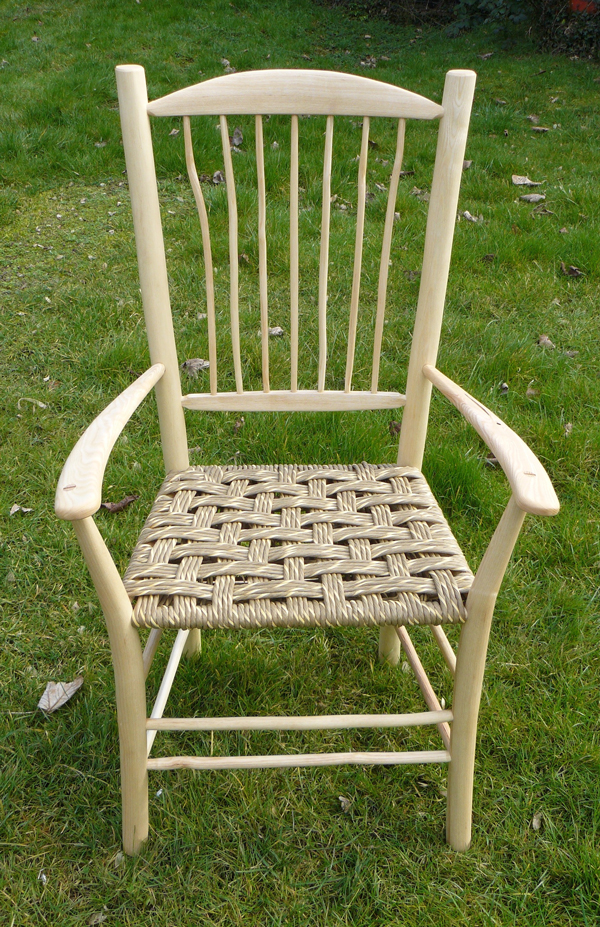 7 spindle back Uncle Fred chair with paper rush seat