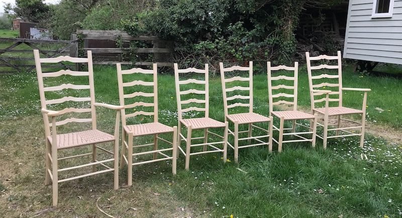 Set of 6 Sweetheart Ladderback Chairs by Rustic Ash Chairs