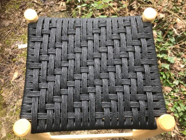 perching stool seat of modified Irish weave pattern seat woven in black danish cord