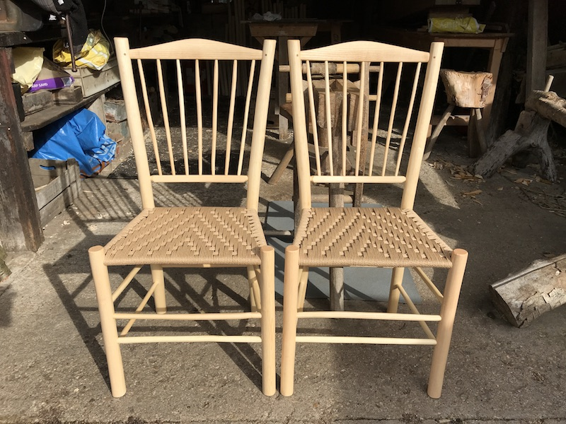 spindle-back side chairs at the Rustic Ash Chairs workshop
