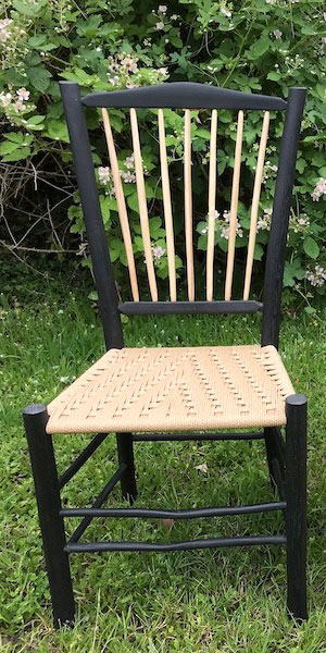 Harlequin Black spindle back side chair with natural ash wood spindles and seat