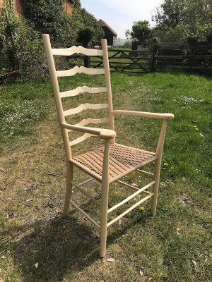 A Rustic Ash Chairs Sweetheart Ladderback Arts and Crafts Style Carver Chair