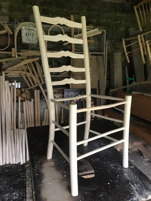 Ladderback chair frame with sweetheart ladders