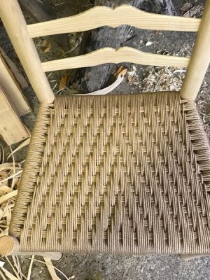 Danish Cord seat weaving in a modified Irish pattern weave