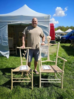 Bodgers Ball 2019 Mark Griffin's 3rd place Skeleton Chair and Ivy Leaf Gentleman's Chair