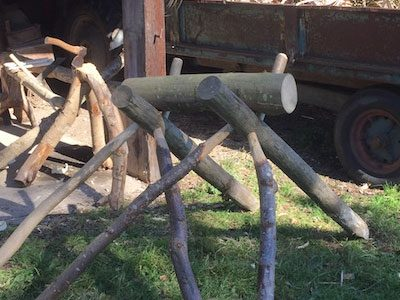Green Woodworking Log Cutting Horse For Chairmaking At Rustic Ash Chairs Workshop