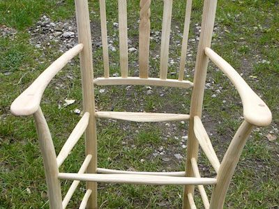 A Rustic Ash Chairs Green Woodworking Chair Frame Showing Rope Design Lath Back