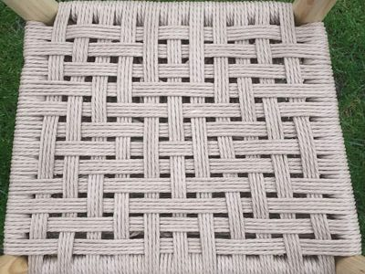 Traditional Danish Cord Seat Weaving Pattern On A Rustic Ash Chair Seat