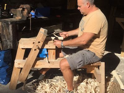 Mark Griffin Is Doing Traditional Green Woodworking Sat On A Shave Horse Using A Drawknife
