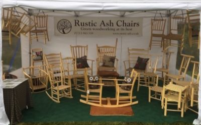 rustic ash chairs setup at craft fairs